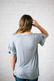 Reve Ruffle Top in Blue Gray