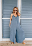 Room To Spare Jumpsuit In Antique Blue