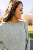 Slouchy Chenille Sweater In Sage - ALL SALES FINAL