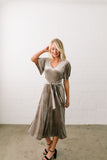 Smile Sparkle Shine Velvet Dress In Champagne - ALL SALES FINAL