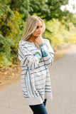 Stairway To Heaven Gray And Blue Striped Sweater - ALL SALES FINAL