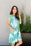 Tiered Tie Dye Dress In Turquoise & Green