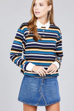 Load image into Gallery viewer, Ladies fashion long sleeve multi striped dty brushed shirts