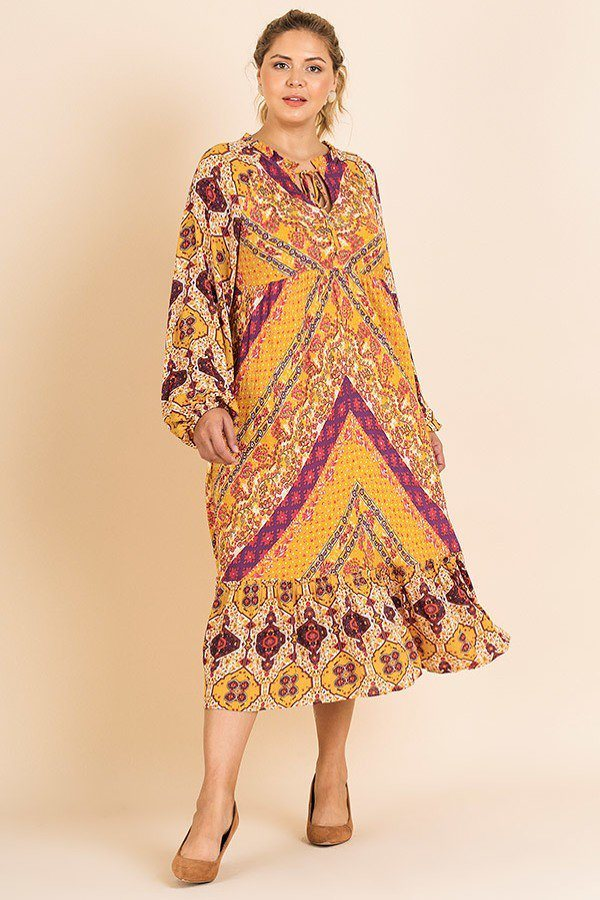 Scarf Mixed Print Long Puff Sleeve Keyhole Maxi Dress