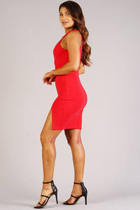 Sexy Holiday Halter Dress With Keyhole Detail