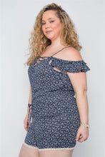 Load image into Gallery viewer, Plus Size Navy Floral Print Lace Up Romper