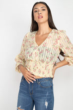 Load image into Gallery viewer, Floral Shadow Stripe V-neck Top