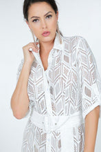 Load image into Gallery viewer, Belted Hi Low Placket Lace Shirt Dress