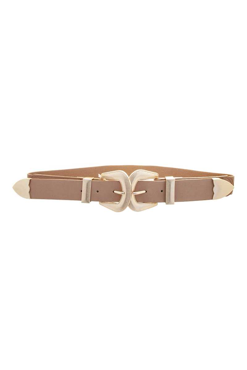 Modern Smooth Double Metal Buckle Design Belt