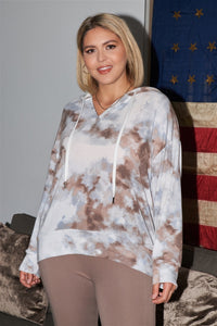 Plus Size Blue & Brown Tie-dye Hooded Sweatshirt