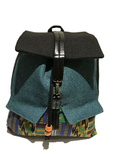 Blue 'Kente' Print Backpack