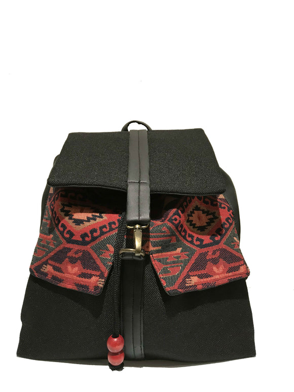 Black Printed  Backpack