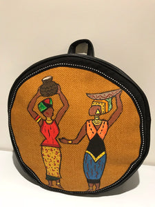 Round Hand-painted ' African ladies' Backpack