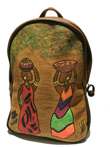 Brown Hand painted Backpack