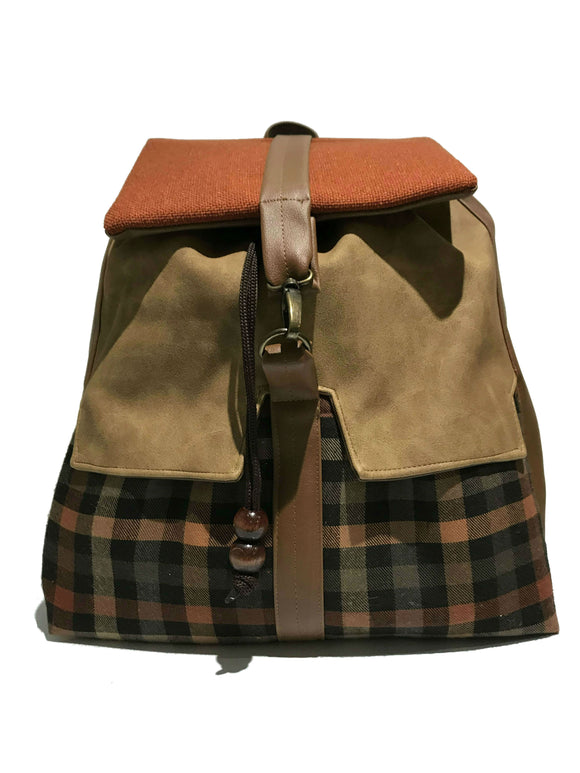 Brown Checkered Backpack