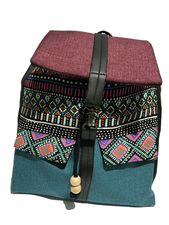 Purple 'Tribal' Print Backpack