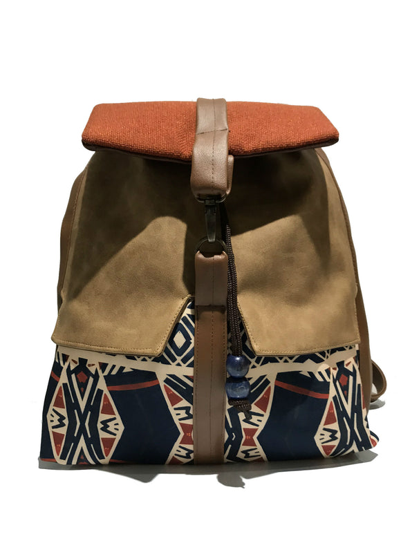 Blue 'Tribal' print Backpack