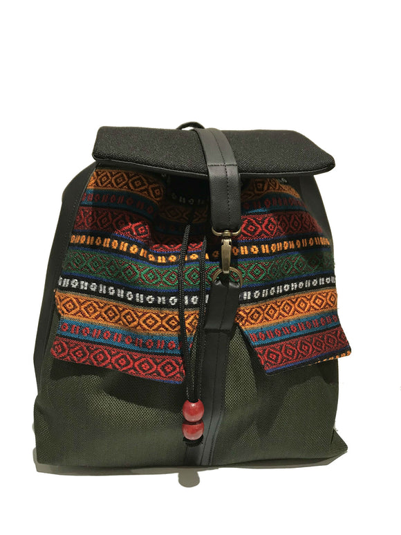 Black and Green printed Backpack