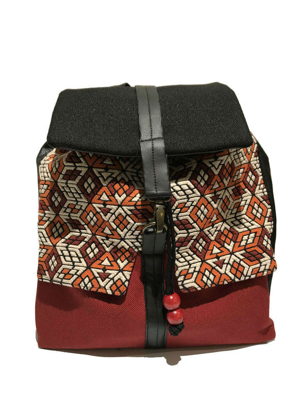 Red Printed Backpack