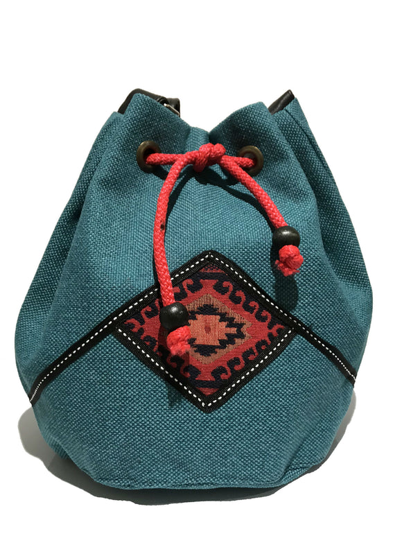 Blue drawstring pouch bag