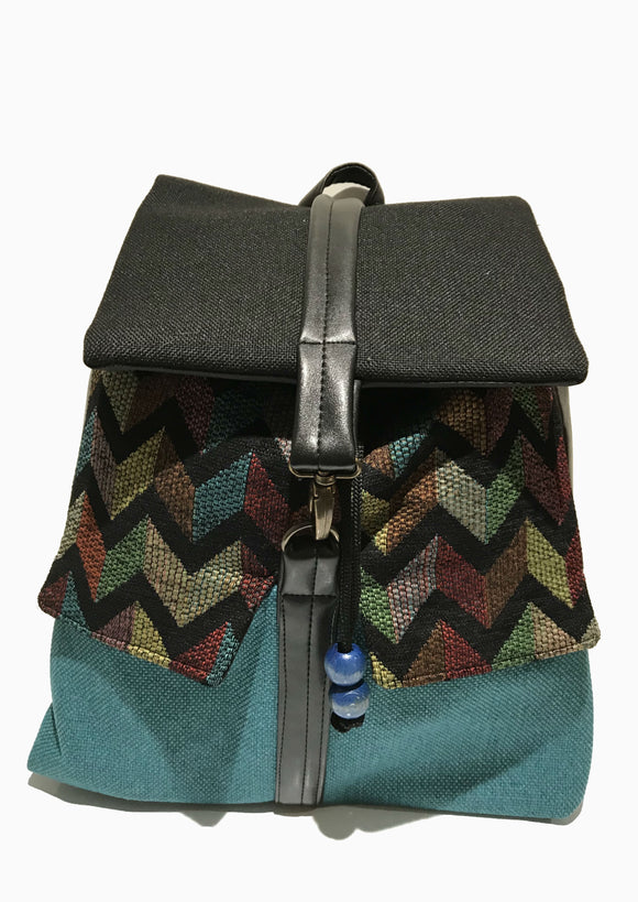 Blue zigzag print backpack
