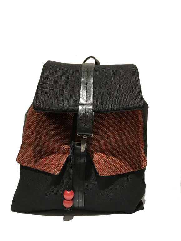 Black textured print backpack