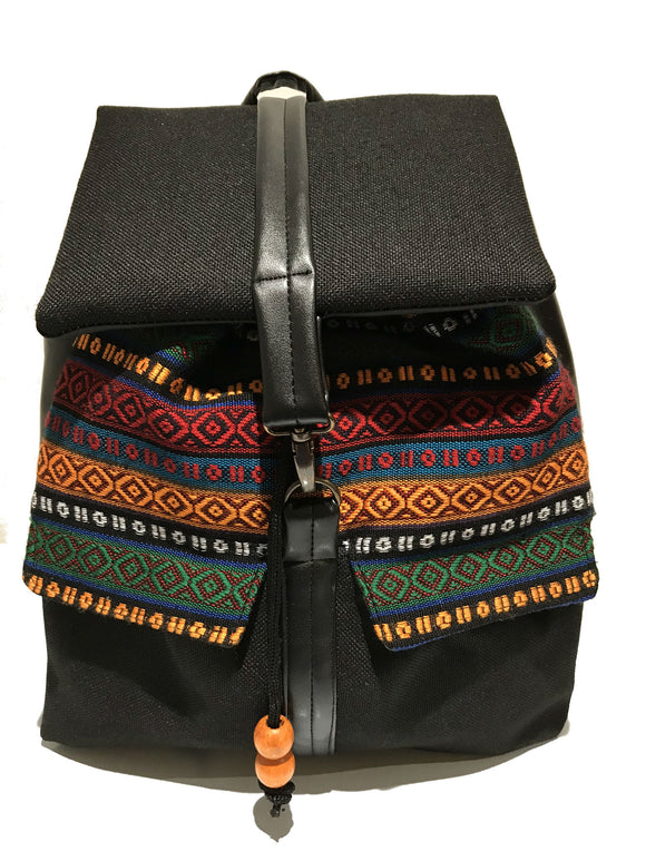 Black aztec print back pack