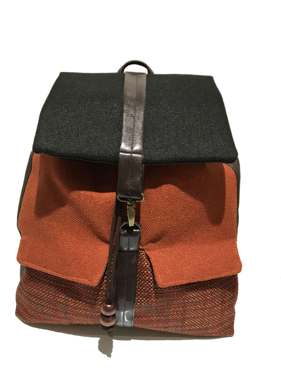Orange textured backpack