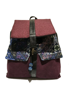 Purple printed backpack