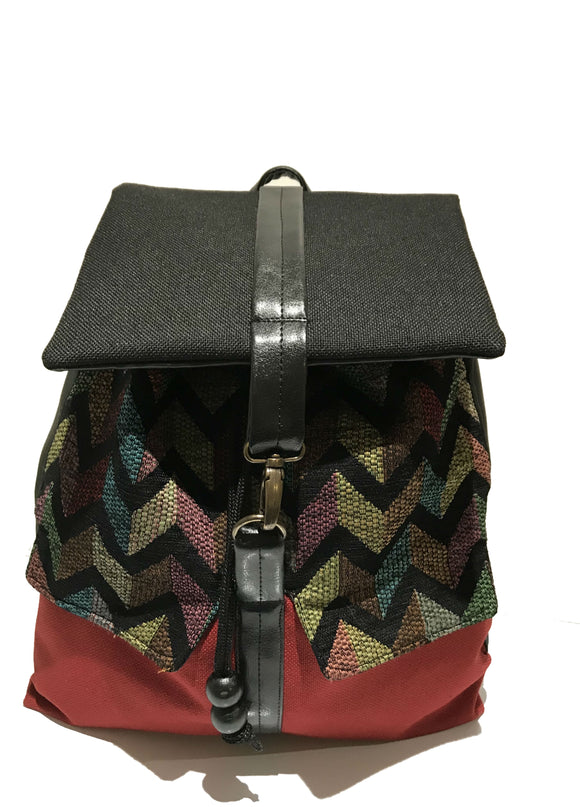 Red zigzag print backpack