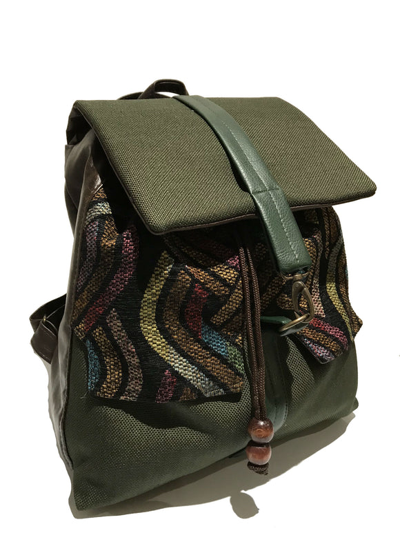 Green Tribal print backpack
