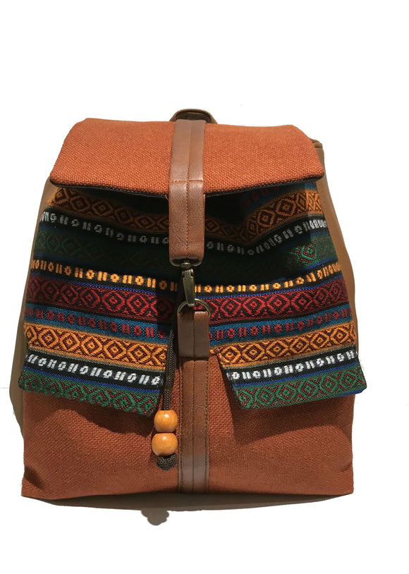 Orange aztec print backpack