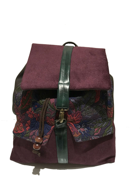Textured floral print backpack