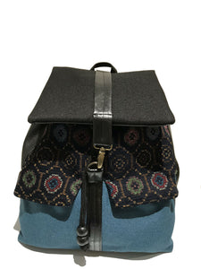 Blue bohemian print backpack