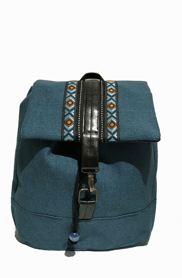 Blue 'printed' Ribbon front backpack