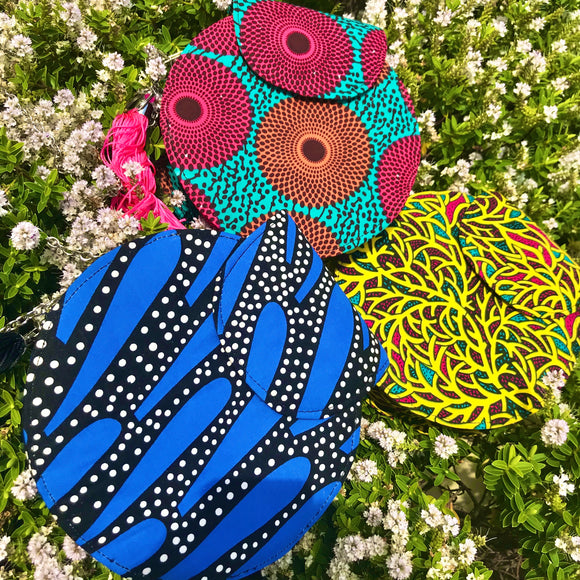Round Ankara Print bag (small)