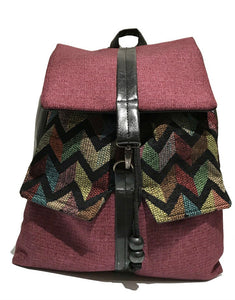 Purple zigzag print backpack