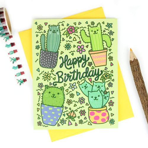 Cactus Cats Birthday Card - for sale by Succy Crafts