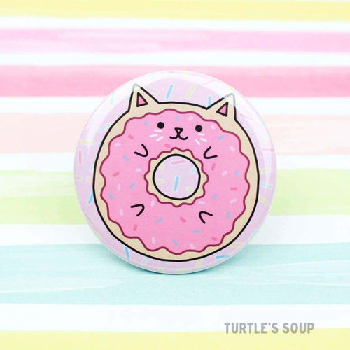 Donut Cat Pinback Button - for sale by Succy Crafts