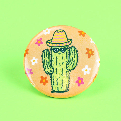 Happy Cactus Pinback Button - for sale by Succy Crafts