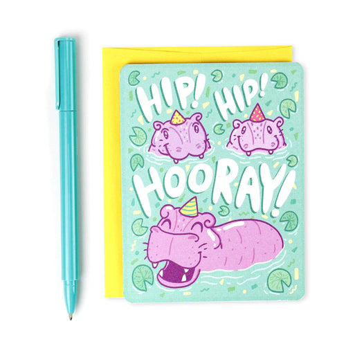 Hip Hip Hooray Hippo Celebration Card - for sale by Succy Crafts