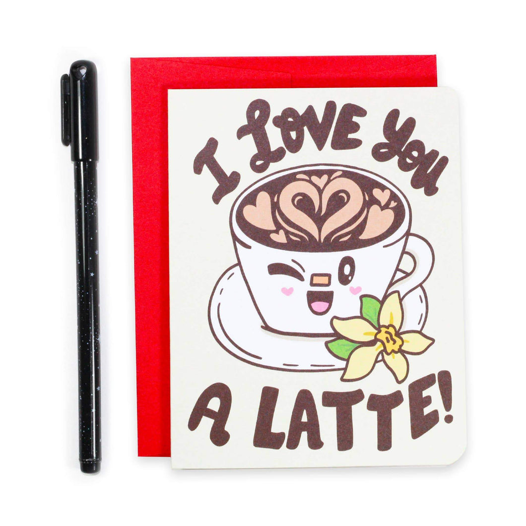 I Love You A Latte Valentine's Day Card - for sale by Succy Crafts