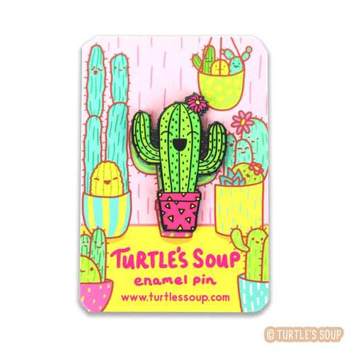 Little Saguaro Hard Enamel Pin - for sale by Succy Crafts