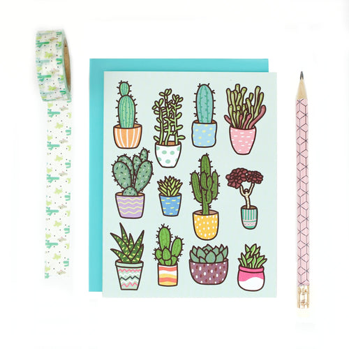Potted Succulent Pattern Note Card - for sale by Succy Crafts