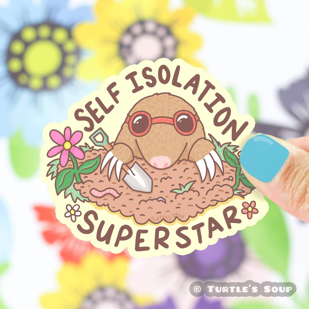 Self Isolation Super Star Vinyl Sticker - for sale by Succy Crafts