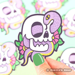 Snake Skull Vinyl Sticker - for sale by Succy Crafts