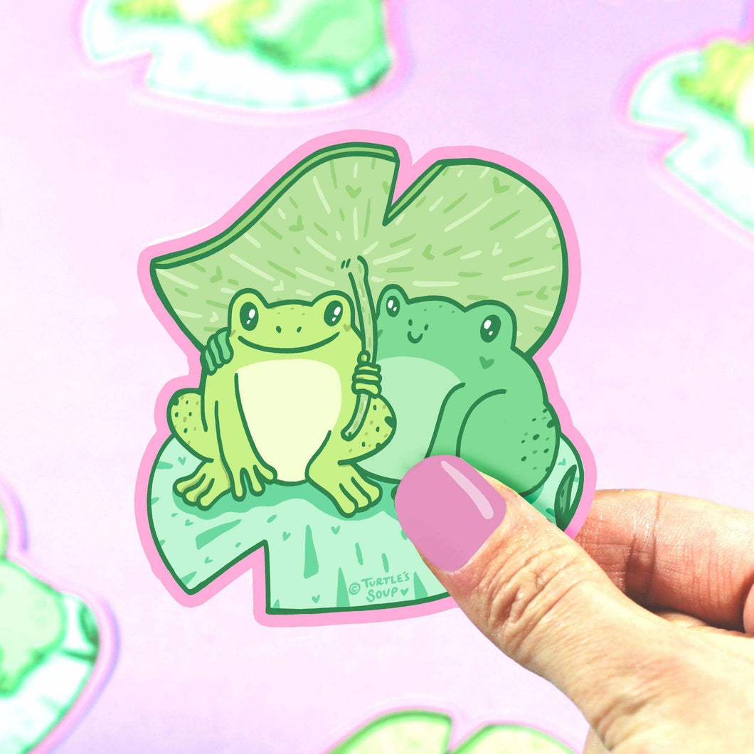 Toads on Lilypad Vinyl Sticker - for sale by Succy Crafts