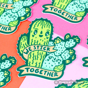 We Stick Together Cacti Vinyl Sticker - for sale by Succy Crafts