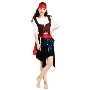 Halloween Carnival Party Costume Captain Pirate Costumes Adult Fancy Cosplay Clothing for Women Men Lover Corpetes Brasil Frete Grátis - 10x Sem Juros