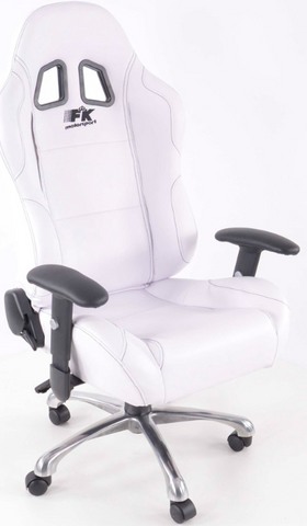 Office chair sports seat with armrest, leather, white, black seam